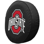 Ohio State Tire Cover with Buckeyes Logo on Black Vinyl
