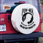 POW-MIA Tire Cover on White Vinyl