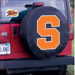 Syracuse Tire Cover with Orange Logo on Black Vinyl