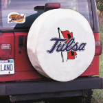 Tulsa Tire Cover with Golden Hurricanes Logo on White Vinyl
