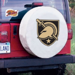 Military Academy Tire Cover on White Vinyl