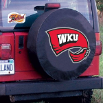 Western Kentucky Tire Cover with Hilltoppers Logo on Black