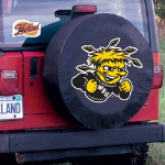 Wichita State Tire Cover with Shockers Logo on Black Vinyl