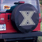 Xavier Tire Cover with Musketeers Logo on Black Vinyl