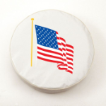 American Flag Tire Cover on White Vinyl
