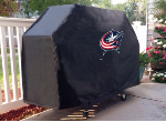 Columbus Grill Cover with Blue Jackets Logo on Black Vinyl