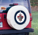 Winnipeg Tire Cover with Jets Logo on White Vinyl