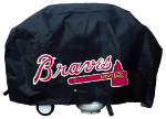 Atlanta Grill Cover with Braves Logo on Black Vinyl - Deluxe