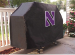 Northwestern Grill Cover with Wildcats Logo on Black Vinyl