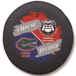Florida - Georgia House Divided Spare Tire Cover on Black Vinyl