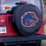 Boise State Tire Cover with Broncos Logo on Black Vinyl
