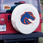 Boise State Tire Cover with Broncos Logo on White Vinyl