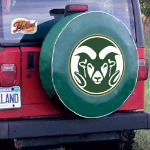 Colorado State Tire Cover with Rams Logo on Green Vinyl
