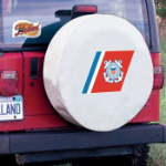 United States Coast Guard Tire Cover on White Vinyl