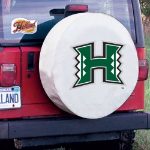 Hawaii Tire Cover with Rainbow Warriors Logo on White Vinyl