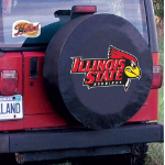 Illinois State Tire Cover with Redbirds Logo on Black Vinyl