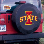 Iowa State Tire Cover with Cyclones Logo on Black Vinyl