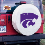 Kansas State Tire Cover with Wildcats Logo on White Vinyl