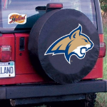 Montana State Tire Cover with Bobcats Logo on Black Vinyl