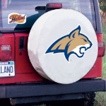 Montana State Tire Cover with Bobcats Logo on White Vinyl