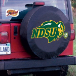 North Dakota State Tire Cover with Bison Logo on Black Vinyl