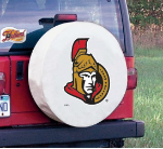 Ottawa Tire Cover with Senators Logo on White Vinyl