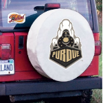 Purdue Tire Cover with Boilermakers Logo on White Vinyl