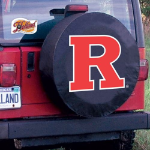 Rutgers Tire Cover with Scarlet Knights Logo on Black Vinyl