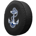 Naval Academy Tire Cover on Black Vinyl