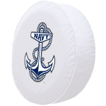 Naval Academy Tire Cover on White Vinyl