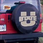 Utah State Tire Cover with Aggies Logo on Black Vinyl