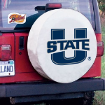 Utah State Tire Cover with Aggies Logo on White Vinyl