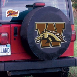 Western Michigan Tire Cover with Broncos Logo on Black Vinyl