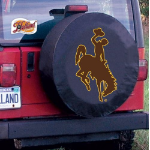 Wyoming Tire Cover with Cowboys Logo on Black Vinyl