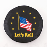American Flag Lets Roll Tire Cover on Black Vinyl
