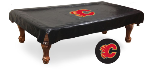 Calgary Pool Table Cover w/ Flames Logo - Black Vinyl