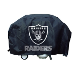 Oakland Grill Cover with Raiders Logo on Black Vinyl - Deluxe