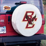 Boston College Tire Cover with Eagles Logo on White Vinyl