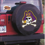 East Carolina Tire Cover with Pirates Logo on Black Vinyl