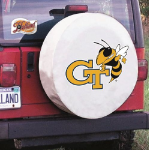 Georgia Tech Tire Cover with Yellow Jackets Logo on White