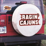 Louisiana Lafayette Tire Cover with Ragin Cajuns Logo on White