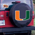 Miami Tire Cover with Hurricanes Logo on Black Vinyl
