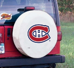 Montreal Tire Cover with Canadiens Logo on White Vinyl