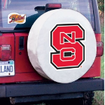 NC State Tire Cover with Wolfpack Logo on White Vinyl