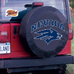 Nevada Tire Cover with Wolf Pack Logo on Black Vinyl