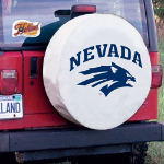 Nevada Tire Cover with Wolf Pack Logo on White Vinyl