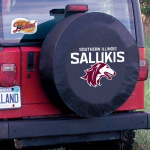 Southern Illinois Tire Cover with Salukis Logo on Black Vinyl