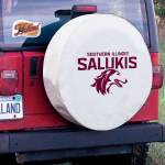 Southern Illinois Tire Cover with Salukis Logo on White Vinyl