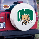 Ohio Tire Cover with Bobcats Logo on White Vinyl