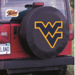 West Virginia Tire Cover with Mountaineers Logo on Black Vinyl